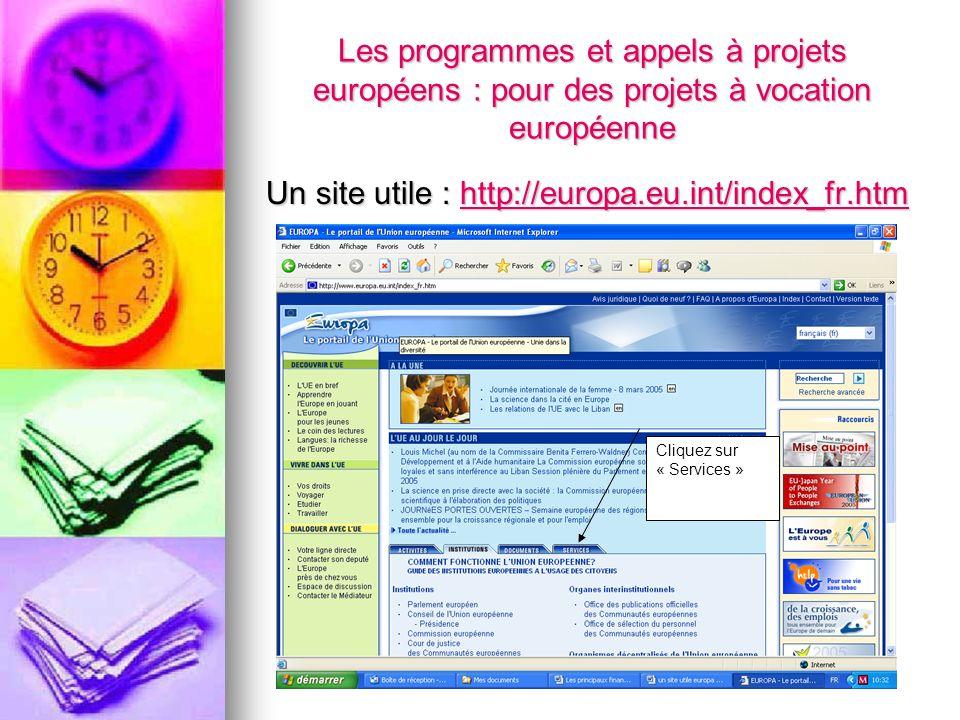 Les programmes et appels à projets européens : pour des projets à vocation européenne Un site utile : http://europa.eu.int/index_fr.htm http://europa.