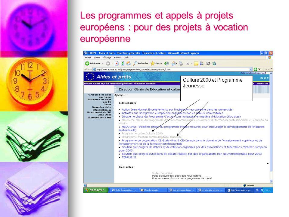 Les programmes et appels à projets européens : pour des projets à vocation européenne Culture 2000 et Programme Jeunesse