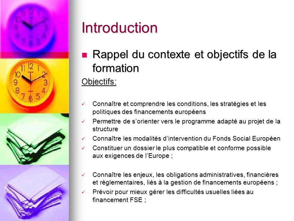 Introduction Rappel du contexte et objectifs de la formation Rappel du contexte et objectifs de la formationObjectifs: Connaître et comprendre les con