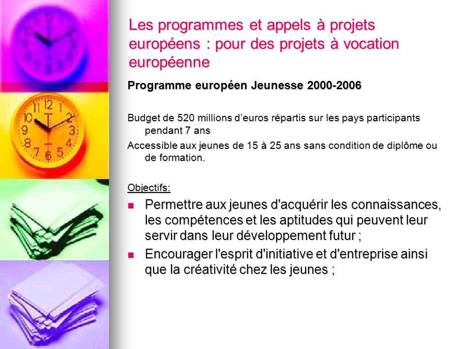 Les programmes et appels à projets européens : pour des projets à vocation européenne Programme européen Jeunesse 2000-2006 Budget de 520 millions deu
