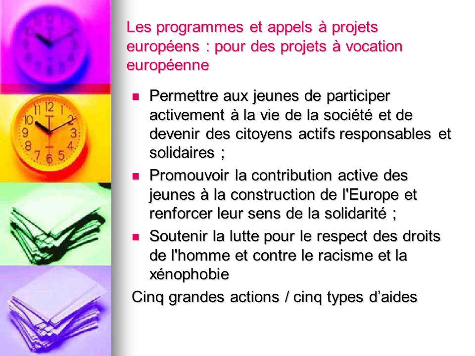 Les programmes et appels à projets européens : pour des projets à vocation européenne Permettre aux jeunes de participer activement à la vie de la soc