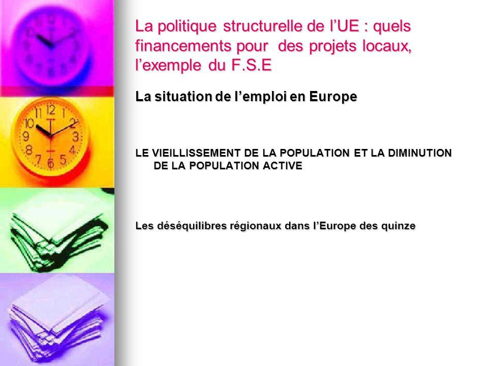 La politique structurelle de lUE : quels financements pour des projets locaux, lexemple du F.S.E La situation de lemploi en Europe LE VIEILLISSEMENT D