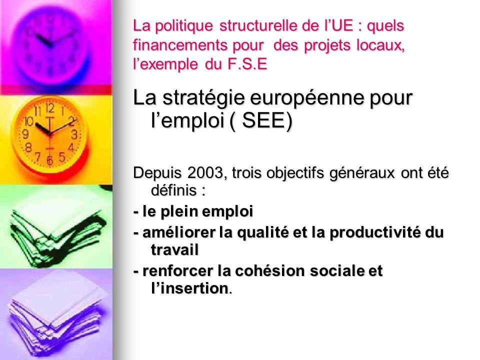 La politique structurelle de lUE : quels financements pour des projets locaux, lexemple du F.S.E La stratégie européenne pour lemploi ( SEE) Depuis 20