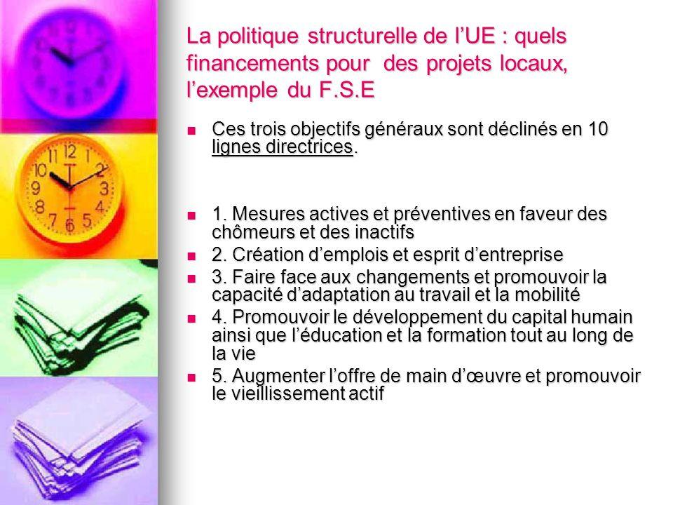 La politique structurelle de lUE : quels financements pour des projets locaux, lexemple du F.S.E Ces trois objectifs généraux sont déclinés en 10 lign