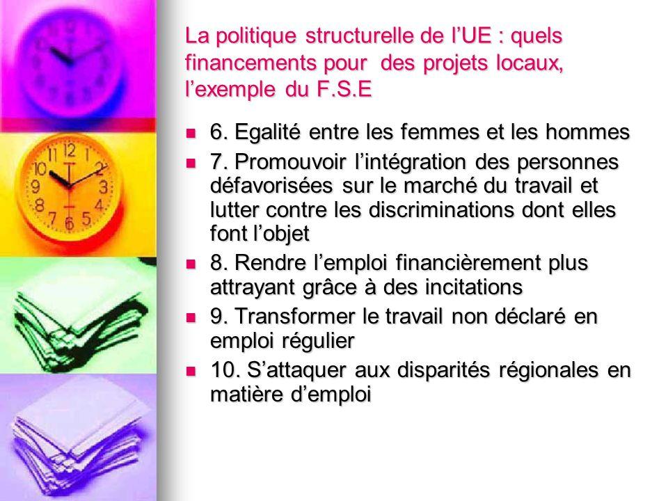 La politique structurelle de lUE : quels financements pour des projets locaux, lexemple du F.S.E 6. Egalité entre les femmes et les hommes 6. Egalité