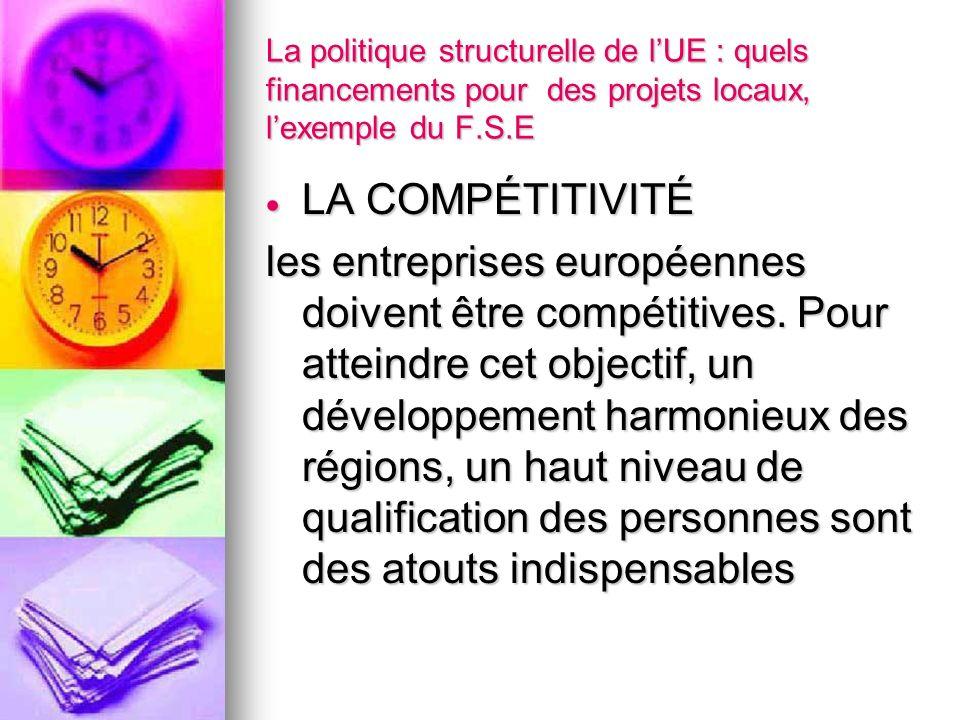 La politique structurelle de lUE : quels financements pour des projets locaux, lexemple du F.S.E LA COMPÉTITIVITÉ LA COMPÉTITIVITÉ les entreprises eur