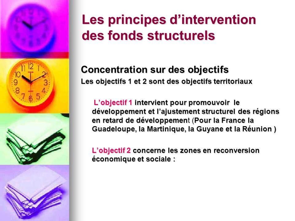 Les principes dintervention des fonds structurels Concentration sur des objectifs Les objectifs 1 et 2 sont des objectifs territoriaux Lobjectif 1 int