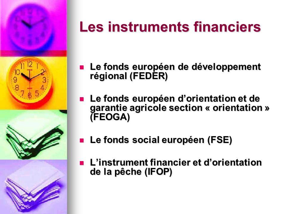 Les instruments financiers Les instruments financiers Le fonds européen de développement régional (FEDER) Le fonds européen de développement régional