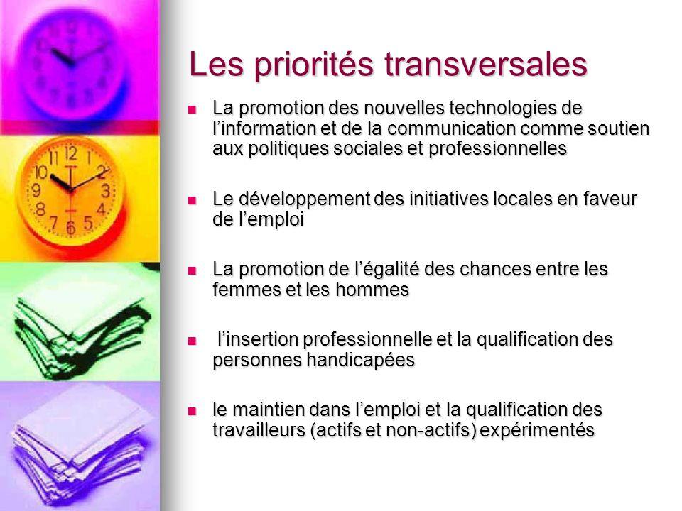 Les priorités transversales La promotion des nouvelles technologies de linformation et de la communication comme soutien aux politiques sociales et pr