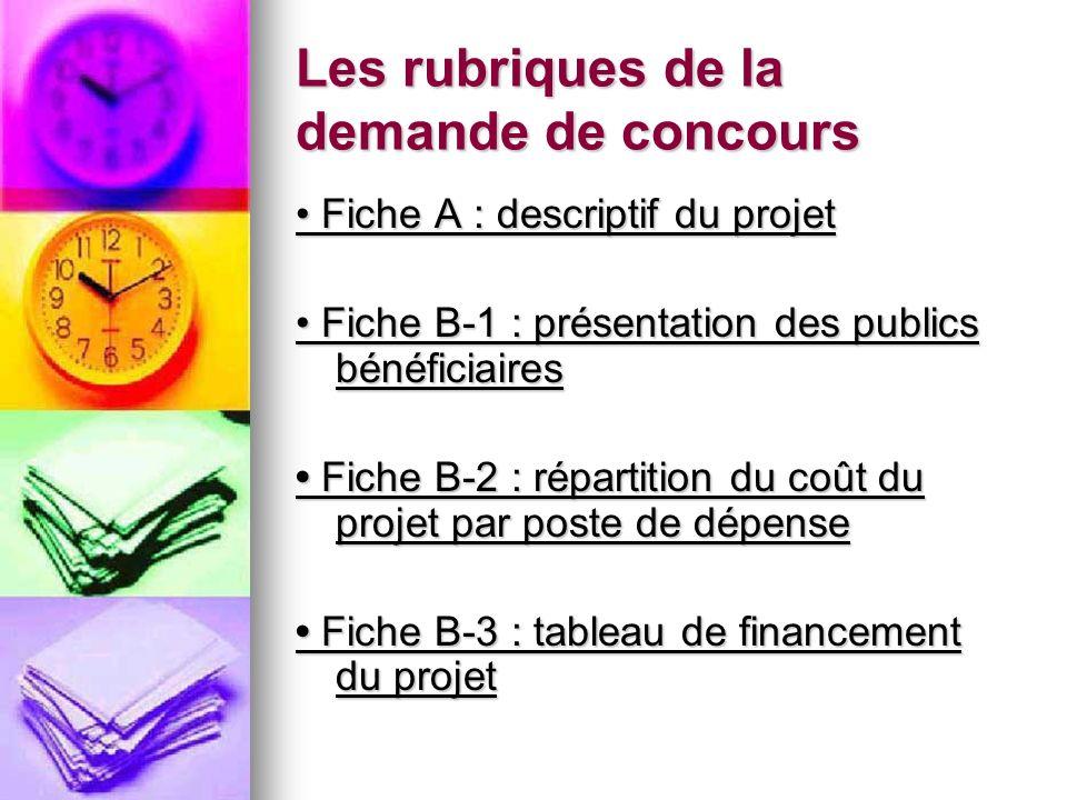 Les rubriques de la demande de concours Fiche A : descriptif du projet Fiche A : descriptif du projet Fiche B-1 : présentation des publics bénéficiair