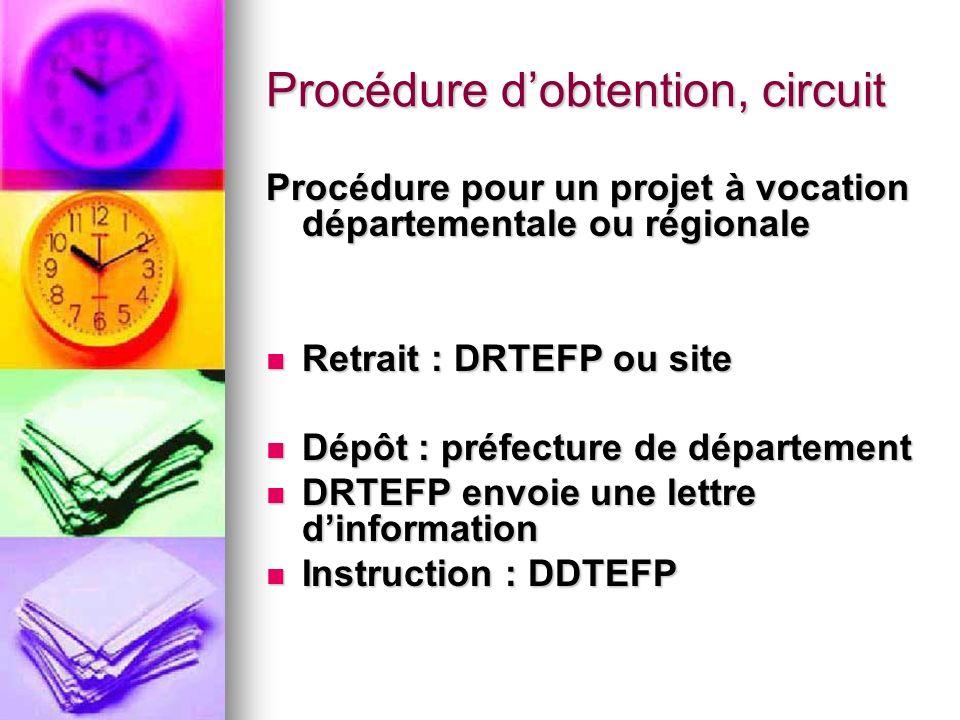 Procédure dobtention, circuit Procédure pour un projet à vocation départementale ou régionale Retrait : DRTEFP ou site Retrait : DRTEFP ou site Dépôt