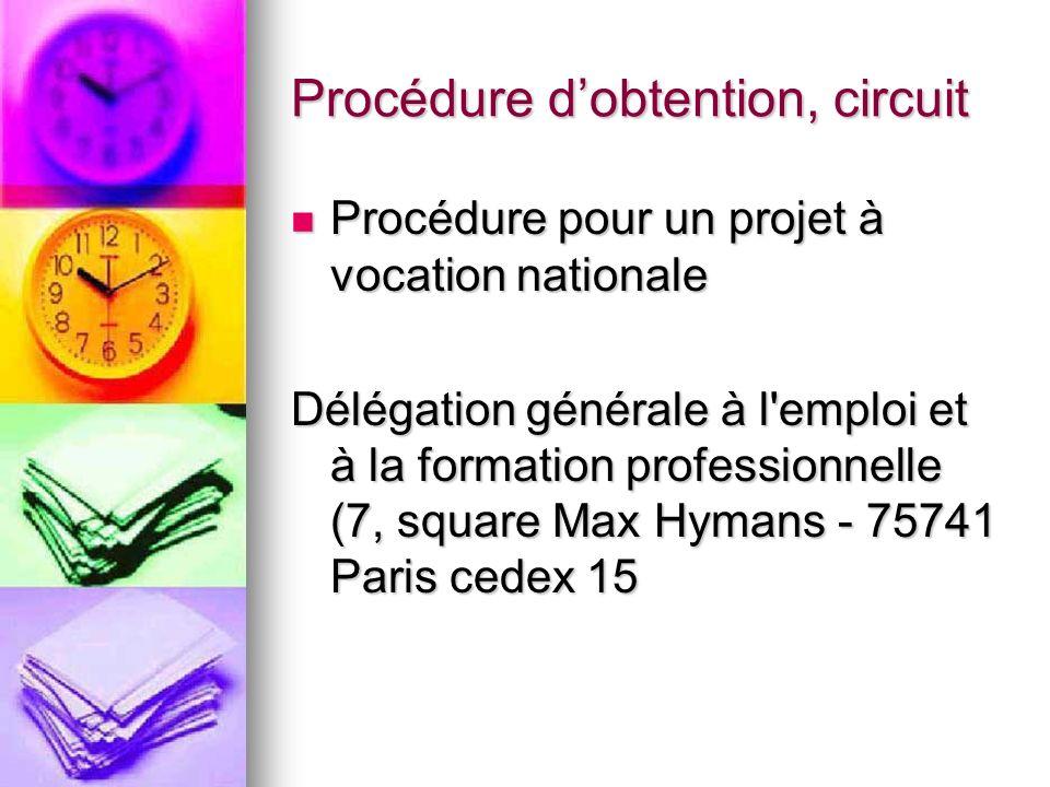Procédure dobtention, circuit Procédure pour un projet à vocation nationale Procédure pour un projet à vocation nationale Délégation générale à l'empl