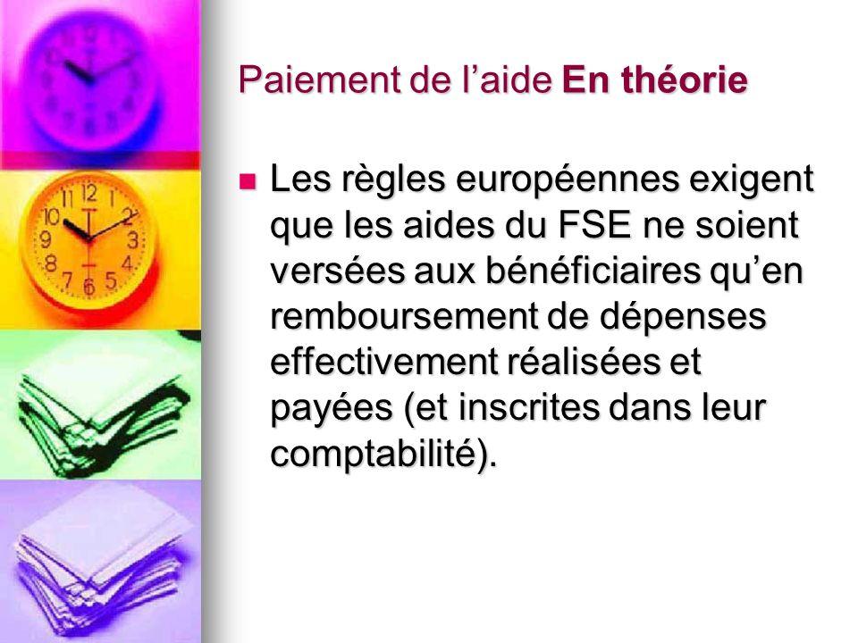 Paiement de laide En théorie Paiement de laide En théorie Les règles européennes exigent que les aides du FSE ne soient versées aux bénéficiaires quen