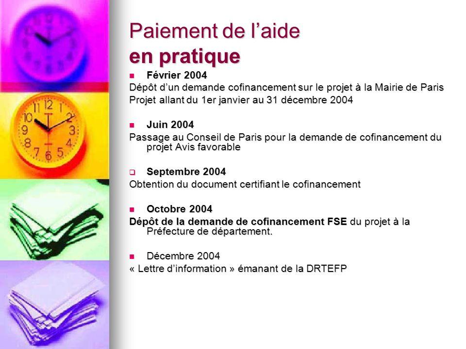 Paiement de laide en pratique Février 2004 Février 2004 Dépôt dun demande cofinancement sur le projet à la Mairie de Paris Projet allant du 1er janvie