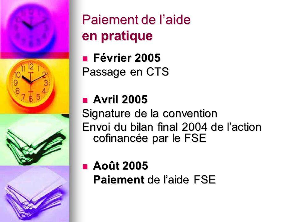 Paiement de laide en pratique Février 2005 Février 2005 Passage en CTS Avril 2005 Avril 2005 Signature de la convention Envoi du bilan final 2004 de l