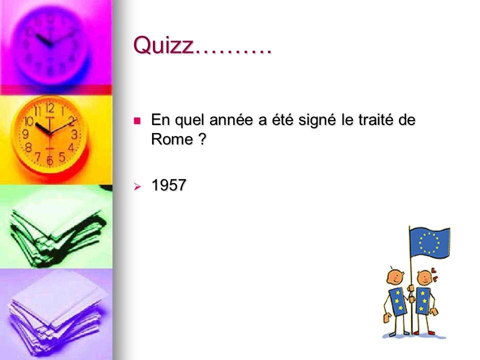 Quizz………. En quel année a été signé le traité de Rome ? En quel année a été signé le traité de Rome ? 1957 1957