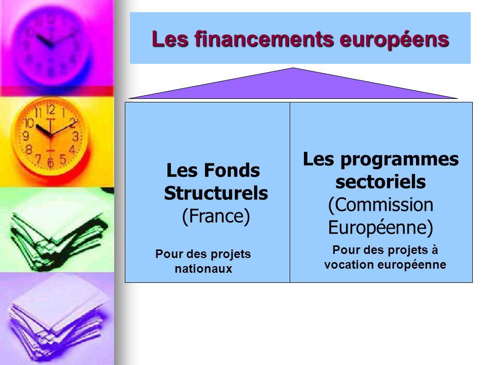 Les financements européens Les Fonds Structurels (France) Les programmes sectoriels (Commission Européenne) Pour des projets nationaux Pour des projet