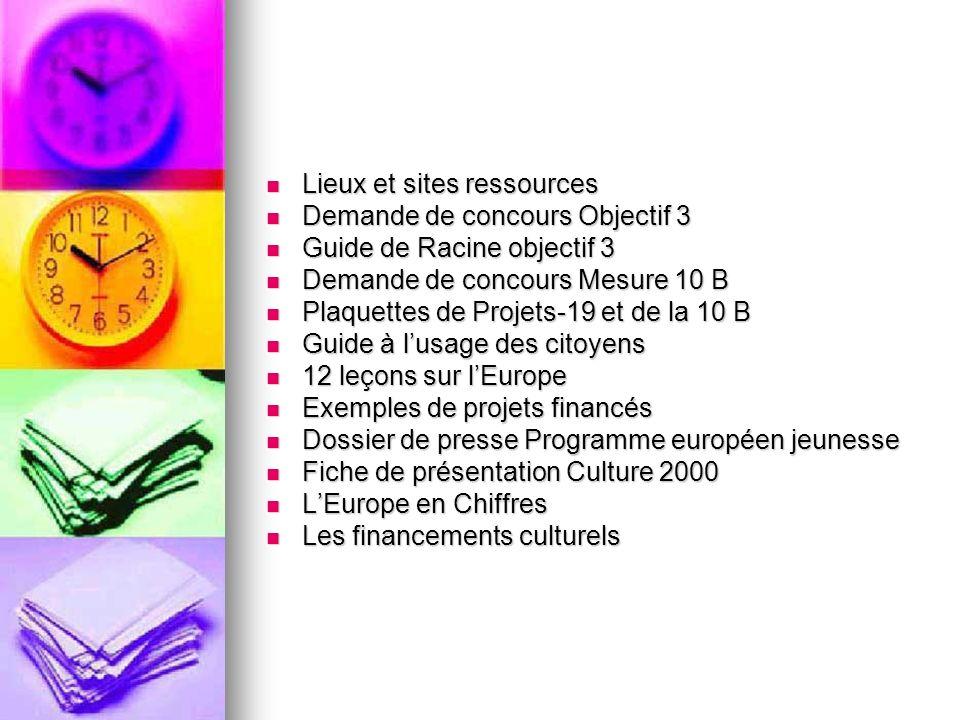 Lieux et sites ressources Lieux et sites ressources Demande de concours Objectif 3 Demande de concours Objectif 3 Guide de Racine objectif 3 Guide de