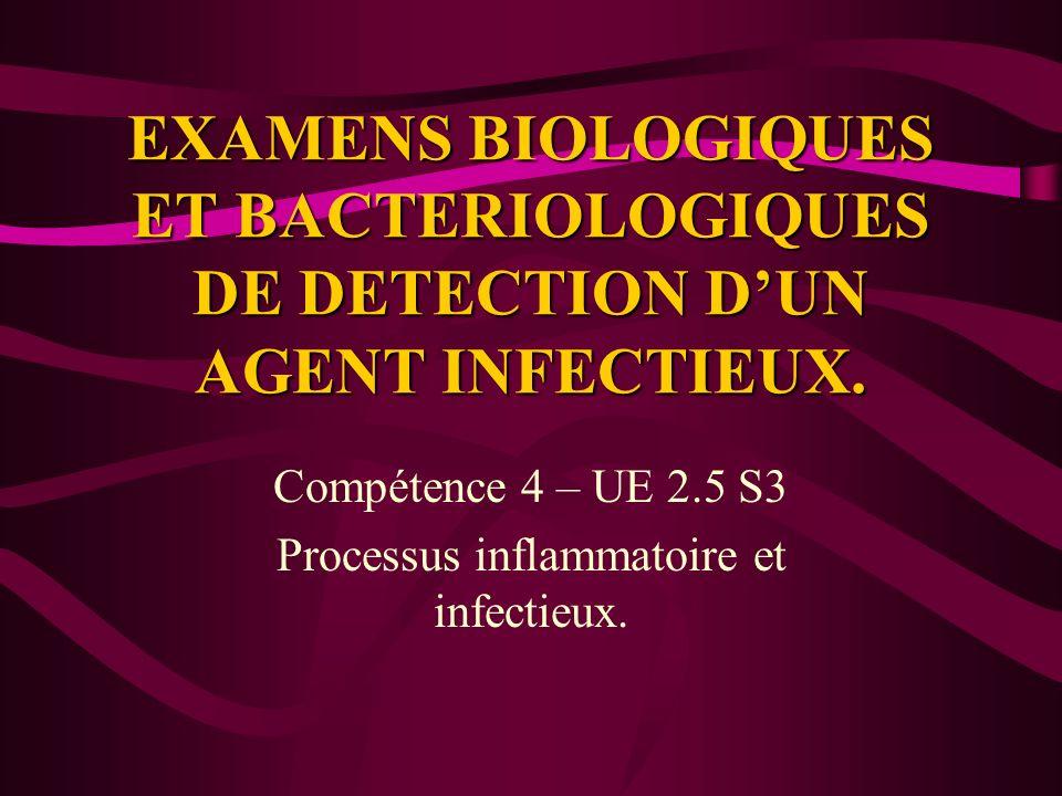 EXAMENS BIOLOGIQUES ET BACTERIOLOGIQUES DE DETECTION DUN AGENT INFECTIEUX. Compétence 4 – UE 2.5 S3 Processus inflammatoire et infectieux.