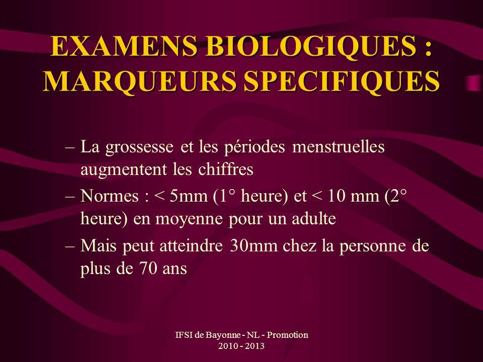 IFSI de Bayonne - NL - Promotion 2010 - 2013 EXAMENS BIOLOGIQUES : MARQUEURS SPECIFIQUES –La grossesse et les périodes menstruelles augmentent les chi