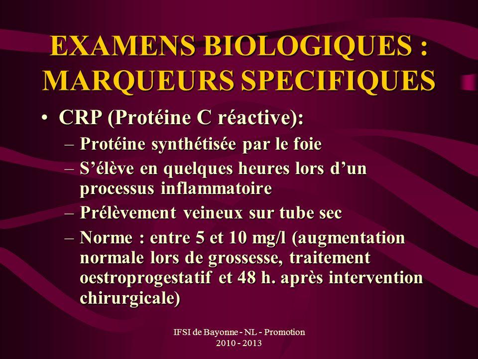 EXAMENS BIOLOGIQUES : MARQUEURS SPECIFIQUES CRP (Protéine C réactive):CRP (Protéine C réactive): –Protéine synthétisée par le foie –Sélève en quelques