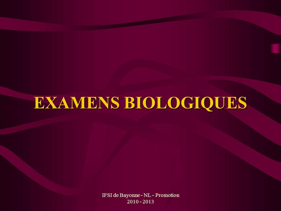 IFSI de Bayonne - NL - Promotion 2010 - 2013 EXAMENS BIOLOGIQUES Hémogramme ou marqueur biologique non spécifique Marqueurs biologiques spécifiques de linflammation Autres marqueurs