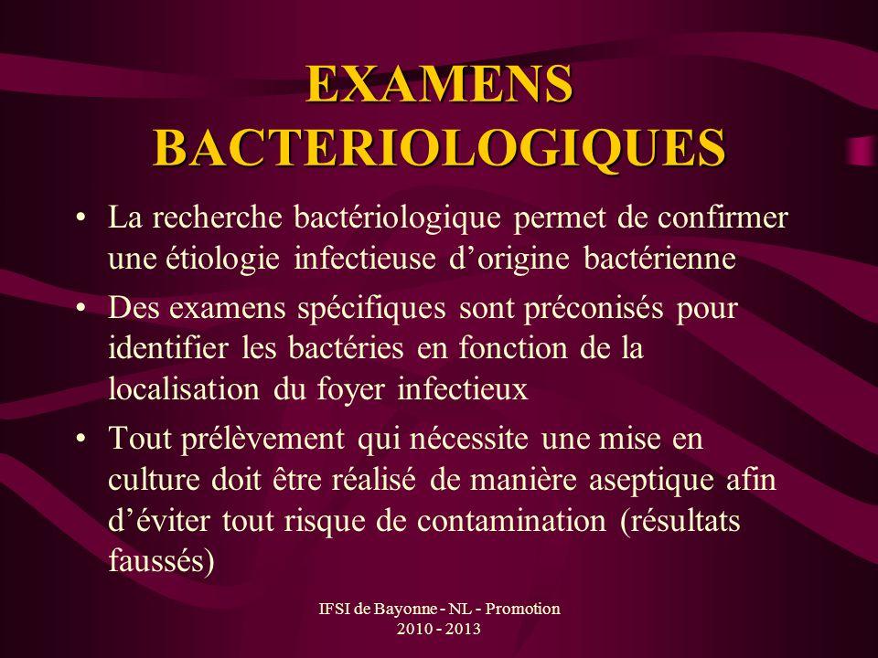 IFSI de Bayonne - NL - Promotion 2010 - 2013 EXAMENS BACTERIOLOGIQUES La recherche bactériologique permet de confirmer une étiologie infectieuse dorig