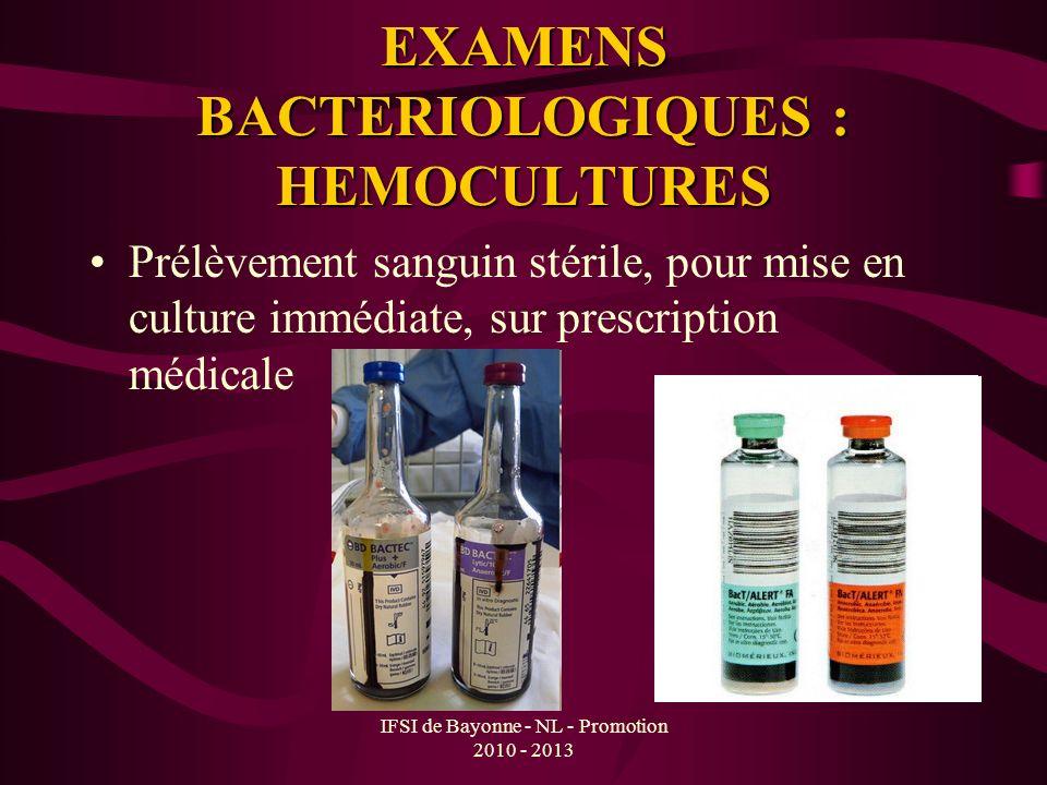 EXAMENS BACTERIOLOGIQUES : HEMOCULTURES Prélèvement sanguin stérile, pour mise en culture immédiate, sur prescription médicale
