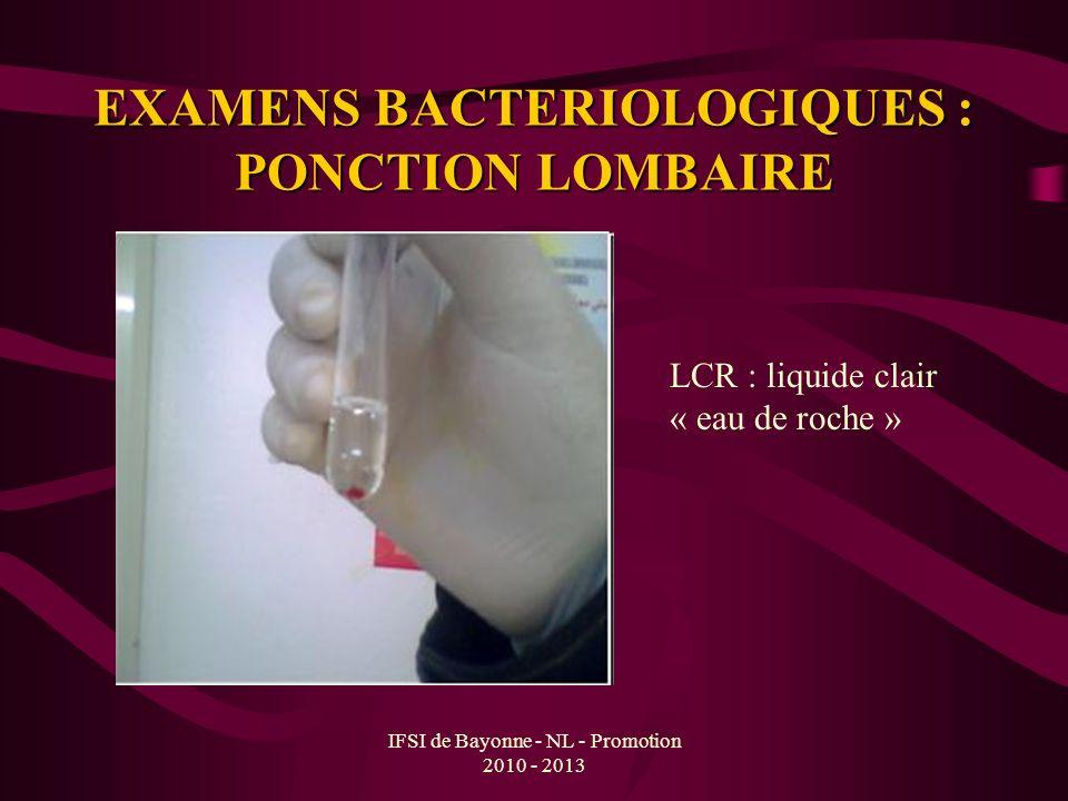 IFSI de Bayonne - NL - Promotion 2010 - 2013 EXAMENS BACTERIOLOGIQUES : PONCTION LOMBAIRE LCR : liquide clair « eau de roche »