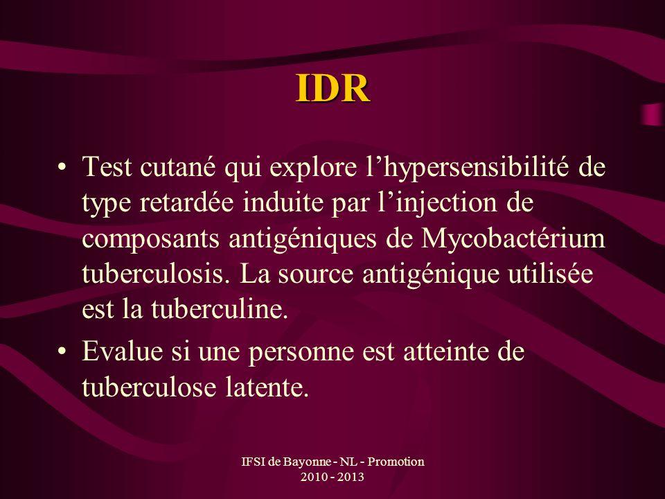 IFSI de Bayonne - NL - Promotion 2010 - 2013 IDR Test cutané qui explore lhypersensibilité de type retardée induite par linjection de composants antig