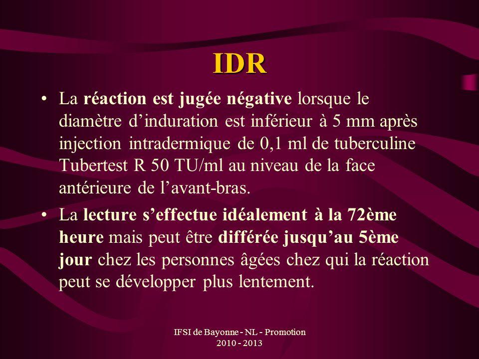 IFSI de Bayonne - NL - Promotion 2010 - 2013 IDR La réaction est jugée négative lorsque le diamètre dinduration est inférieur à 5 mm après injection i