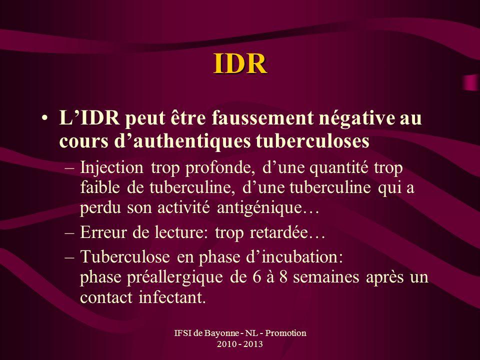 IFSI de Bayonne - NL - Promotion 2010 - 2013 IDR LIDR peut être faussement négative au cours dauthentiques tuberculoses –Injection trop profonde, dune