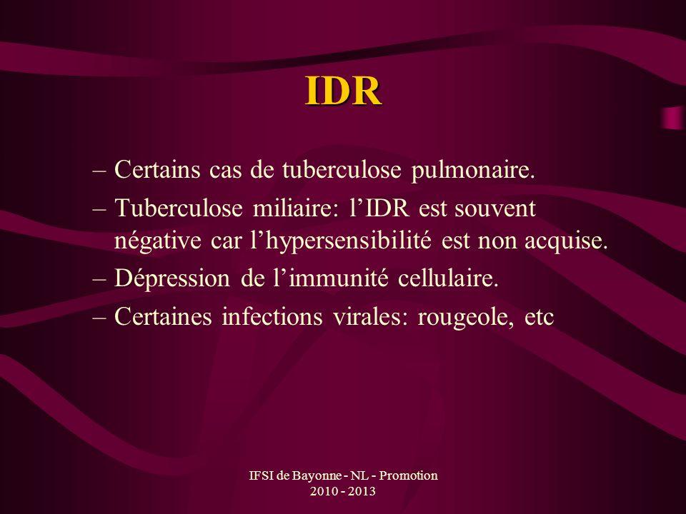 IFSI de Bayonne - NL - Promotion 2010 - 2013 IDR –Certains cas de tuberculose pulmonaire. –Tuberculose miliaire: lIDR est souvent négative car lhypers