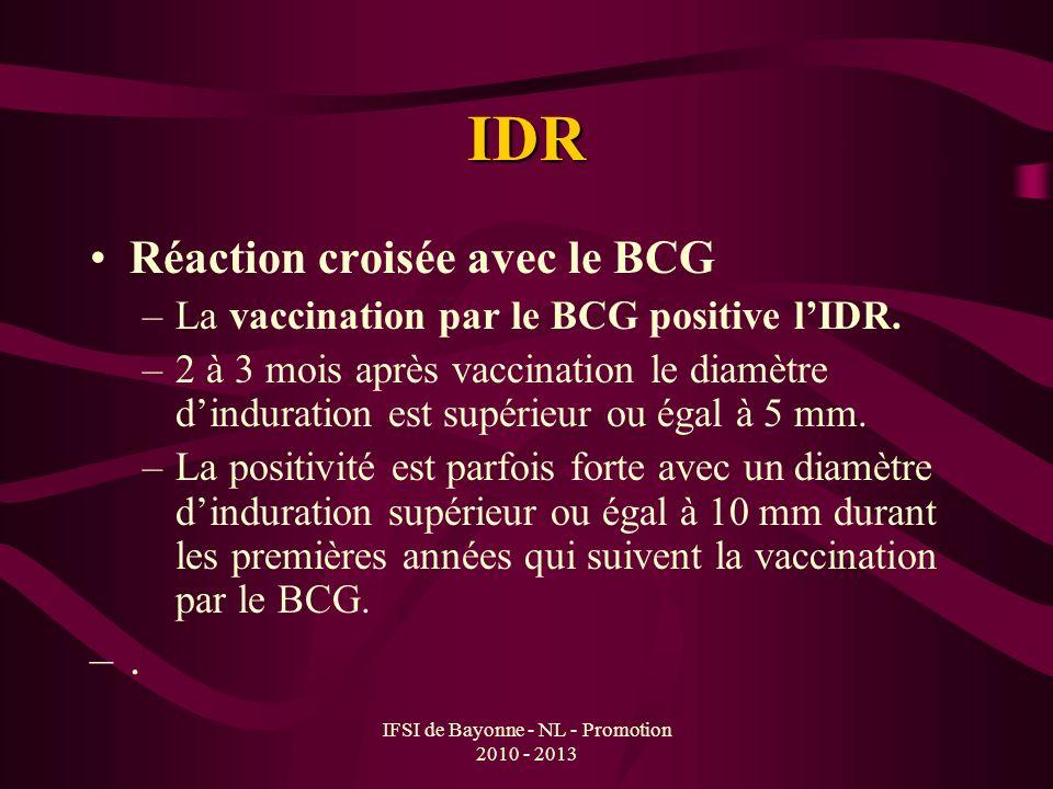 IFSI de Bayonne - NL - Promotion 2010 - 2013 IDR Réaction croisée avec le BCG –La vaccination par le BCG positive lIDR. –2 à 3 mois après vaccination