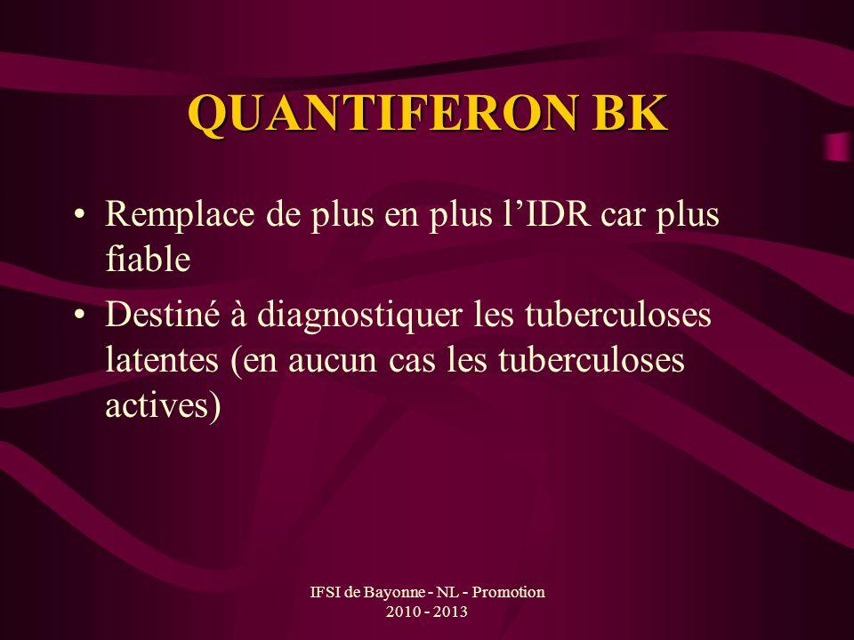 QUANTIFERON BK Remplace de plus en plus lIDR car plus fiable Destiné à diagnostiquer les tuberculoses latentes (en aucun cas les tuberculoses actives)