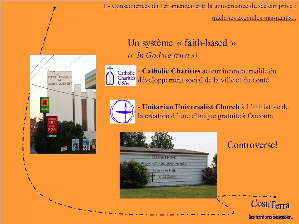 Un système « faith-based » (« In God we trust ») II- Conséquences du 1er amendement: la gouvernance du secteur privé : quelques exemples marquants...