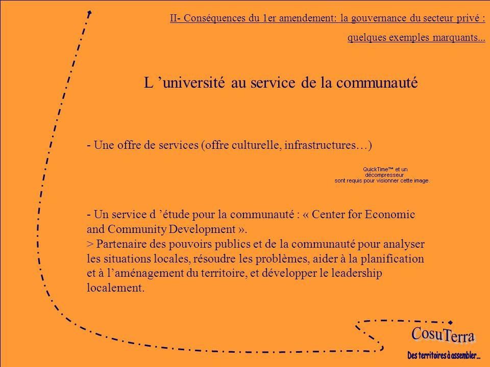 II- Conséquences du 1er amendement: la gouvernance du secteur privé : quelques exemples marquants...