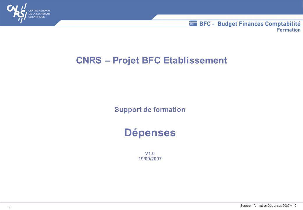 Support formation Dépenses 2007 v1.0 32 -Les quatre états réglementaires : -CUMUL 1 : suivi des cumuls par code famille, achats réguliers Les états du processus Achats dans BFC