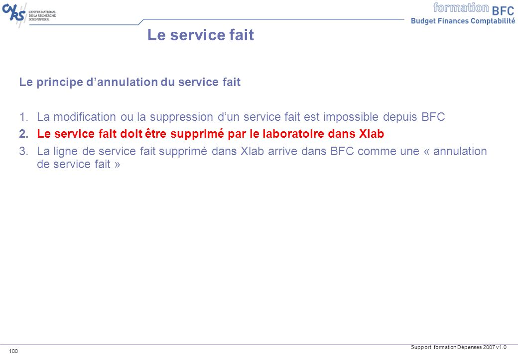 Support formation Dépenses 2007 v1.0 100 Le principe dannulation du service fait 1.La modification ou la suppression dun service fait est impossible d