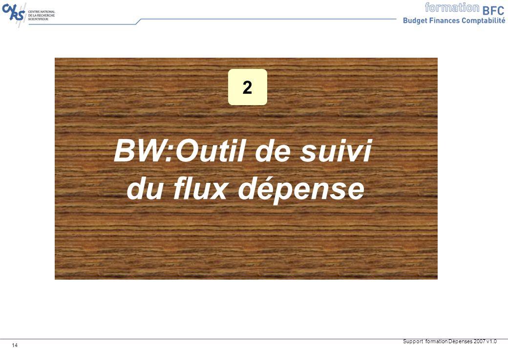 Support formation Dépenses 2007 v1.0 14 BW:Outil de suivi du flux dépense 2