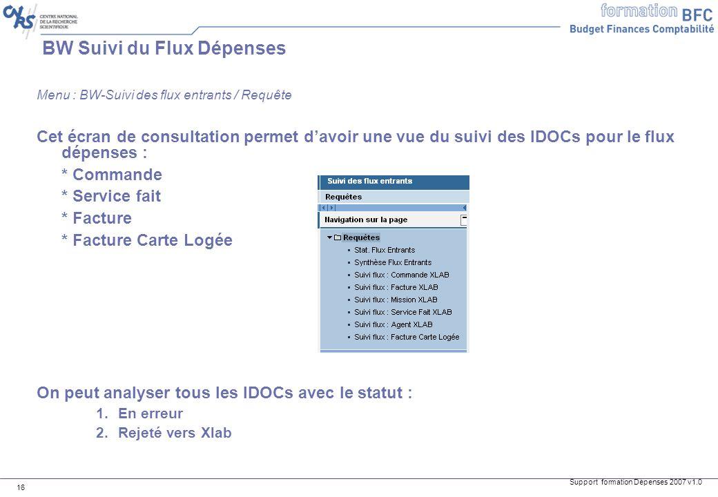 Support formation Dépenses 2007 v1.0 16 BW Suivi du Flux Dépenses Menu : BW-Suivi des flux entrants / Requête Cet écran de consultation permet davoir