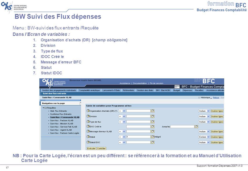 Support formation Dépenses 2007 v1.0 17 BW Suivi des Flux dépenses Menu : BW-suivi des flux entrants /Requête Dans lEcran de variables : 1.Organisatio