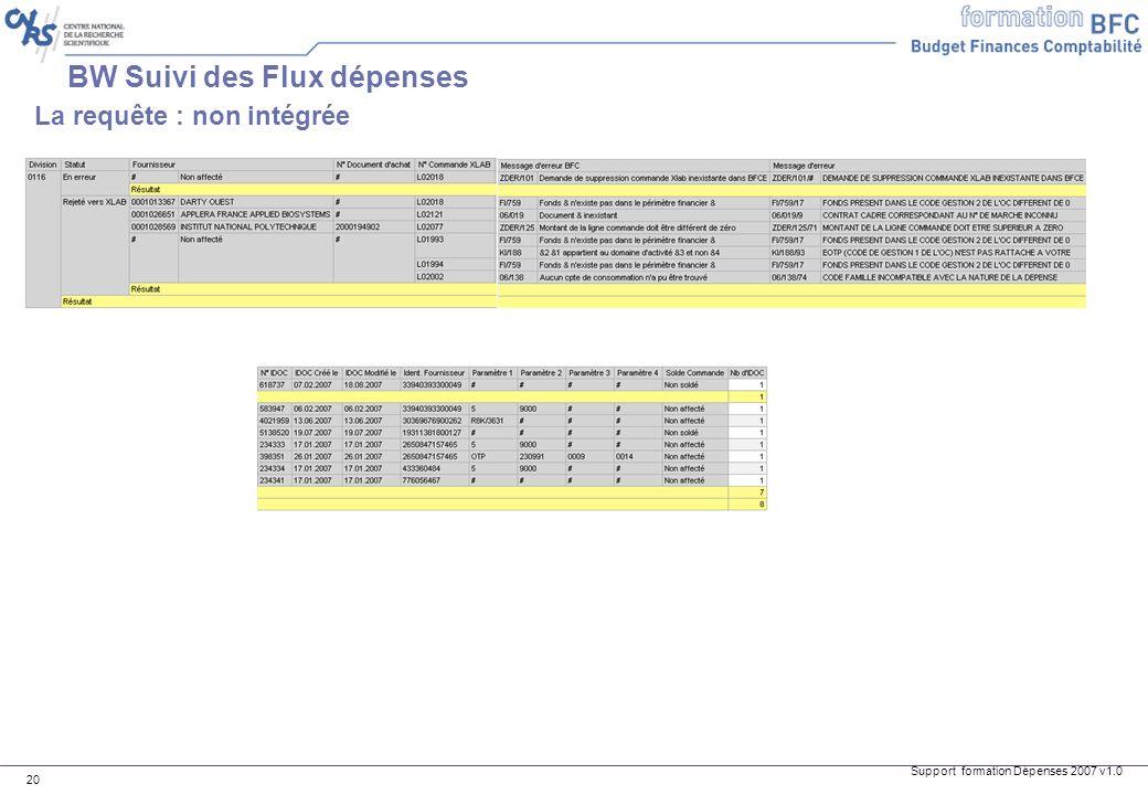 Support formation Dépenses 2007 v1.0 20 BW Suivi des Flux dépenses La requête : non intégrée