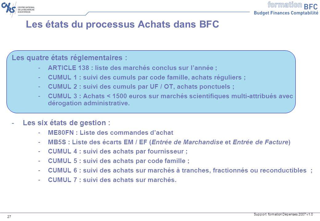 Support formation Dépenses 2007 v1.0 27 Les états du processus Achats dans BFC Les quatre états réglementaires : -ARTICLE 138 : liste des marchés conc