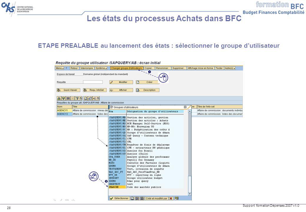 Support formation Dépenses 2007 v1.0 28 ETAPE PREALABLE au lancement des états : sélectionner le groupe dutilisateur Les états du processus Achats dan