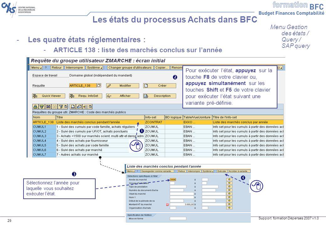 Support formation Dépenses 2007 v1.0 29 -Les quatre états réglementaires : -ARTICLE 138 : liste des marchés conclus sur lannée Les états du processus