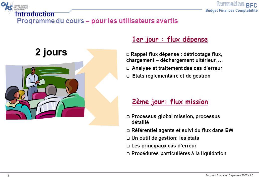 Support formation Dépenses 2007 v1.0 3 Processus global mission, processus détaillé Référentiel agents et suivi du flux dans BW Un outil de gestion: l