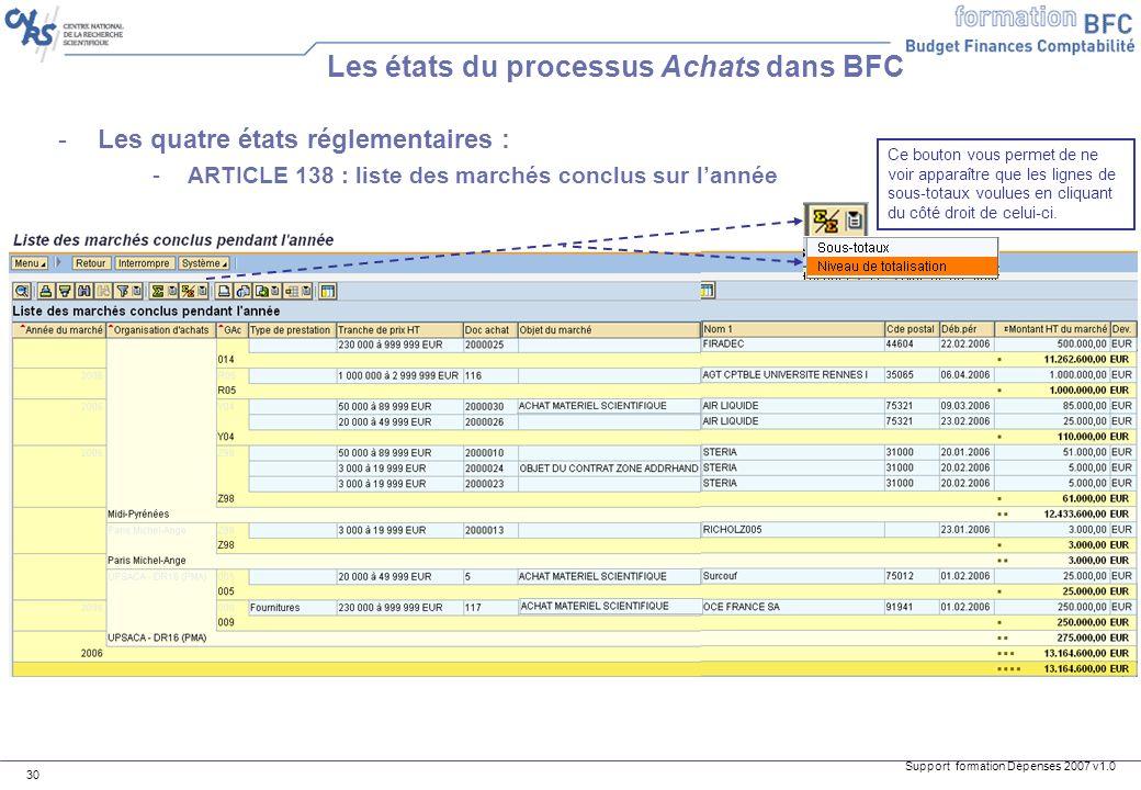 Support formation Dépenses 2007 v1.0 30 Les états du processus Achats dans BFC -Les quatre états réglementaires : -ARTICLE 138 : liste des marchés con