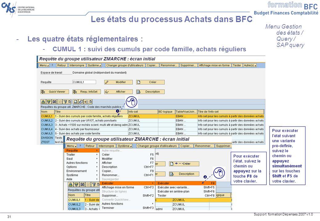 Support formation Dépenses 2007 v1.0 31 -Les quatre états réglementaires : -CUMUL 1 : suivi des cumuls par code famille, achats réguliers Les états du