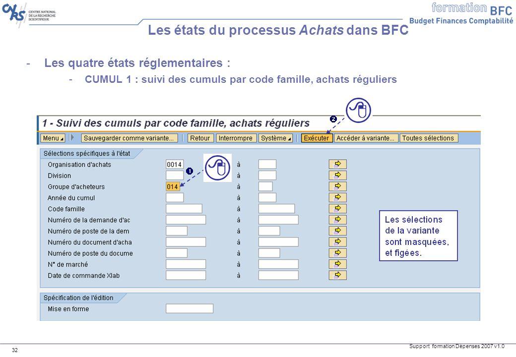 Support formation Dépenses 2007 v1.0 32 -Les quatre états réglementaires : -CUMUL 1 : suivi des cumuls par code famille, achats réguliers Les états du